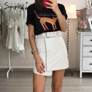 Image 1 - Cuero Pu mujeres falda inferior cintura alta cinturón elegante Falda corta de mujer elegante cremallera Fiesta club wear señoras falda