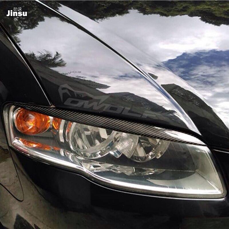 Les sourcils de phare de course de Fiber de carbone de style de voiture couvrent la garniture de paupières s'adapte pour Audi A4 B7 S4 Sline 4 portes 2005 2006 2007 2008
