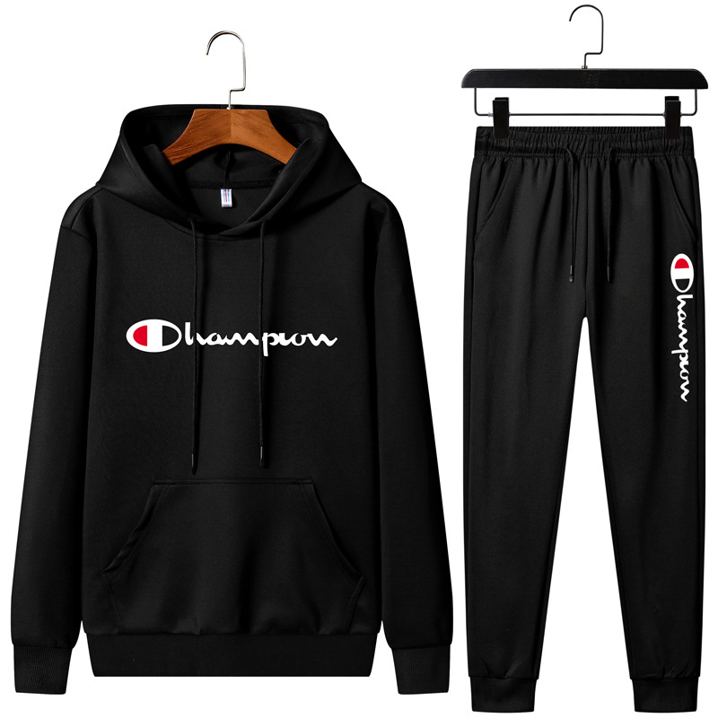 Spring And Autumn New Style Men Sports Two-Piece Set Korean-style Trend Hooded Pullover Casual Hoodie Suit MEN'S Sportswear