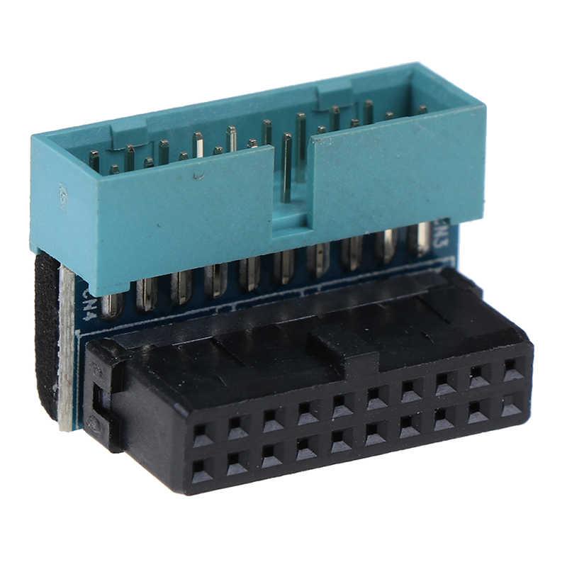 1PC USB 3.0 20pin Male Ke Female Ekstensi Adaptor Up Down Siku 90 Derajat untuk Motherboard Mainboard