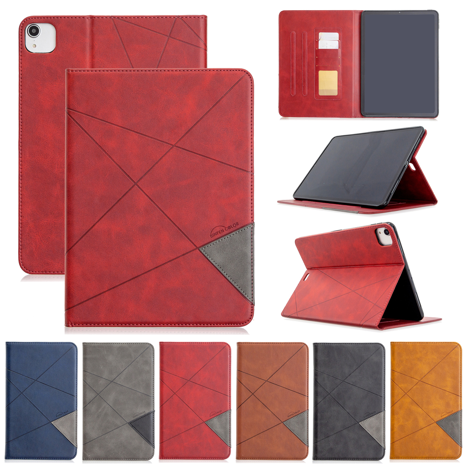 Case For iPad Pro 12 9 2020 2018 With Wallet Holder PU Leather Cover Silicone Soft