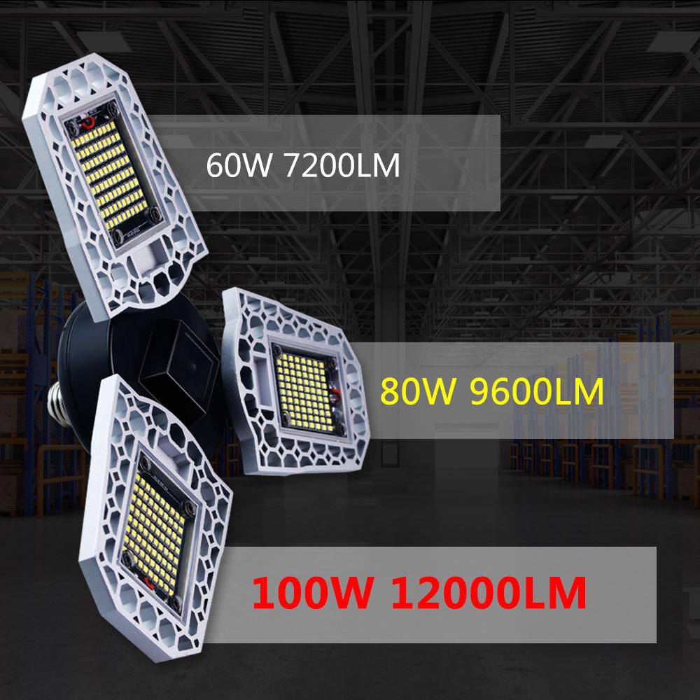 60W 80W 100W E27 Deformable Lamp Led Garage Light 220V High Bay Lamp E26 Light Waterproof High Intensity Workshop Lamp 110V 2835