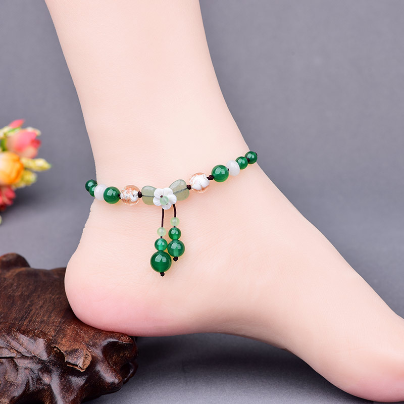 Natural Shell Flower Green Onyx Pendant Adjustable Size Anklets Fresh Summer Ocean Beach Holiday Tourism Jewelry Gifts