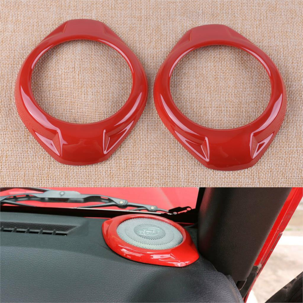 CITALL 2Pcs Car Red ABS Red Dashboard A Pillar Speaker Cover Trim Frame Fit for Jeep Wrangler JK 2015 2016 2017 2018