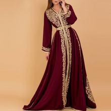 Элегантные бордовые марокканские кафтан с золотыми аппликациями