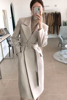 Woman Coats Winter Wool Long Coat With belt Office Lady Fashion lace Up Coats Outerwear 5