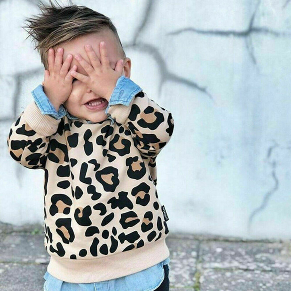Pudcoco Toddler Kids Baby Girl Boy Autumn Long Sleeve Pullover Tops T-Shirt Casual Leopard Print Warm Long Sleeve Sweater Winter