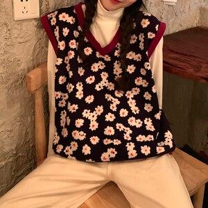 Image 4 - 2019 Mùa Thu Đông Phong Cách Hàn Quốc Cổ Chữ V Dệt Kim Hoa Vest Không Tay Áo Len Nữ Áo Thun Nữ (C8574)