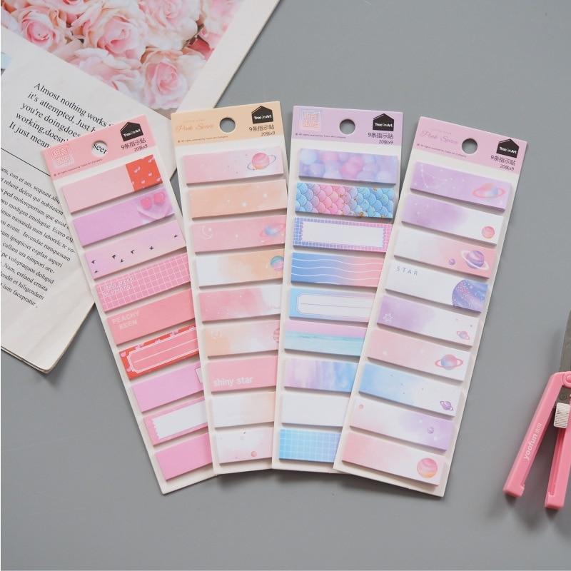 Sweet Starry Sky Memo Pad Sticky Notes Escolar Papelaria School Supply Bookmark Label