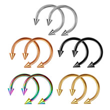 Cone Spike Horseshoe Circular Ring 5 pcs Surgical Steel Labret Nipple Hoops Nose Septum Eyebrow Piercing Body Jewelry  12mm