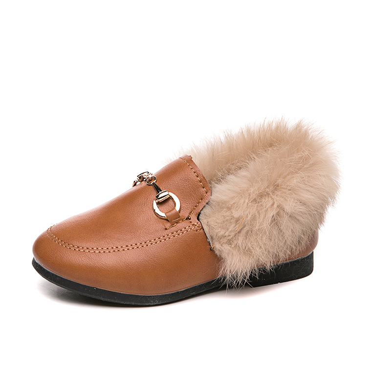 2019 Winter Fur Shoes For Children Little Girls Fox Fur Flat Shoes Kid Loafer With Fur Warm Toddler Girls Flats Size 26-37 Black