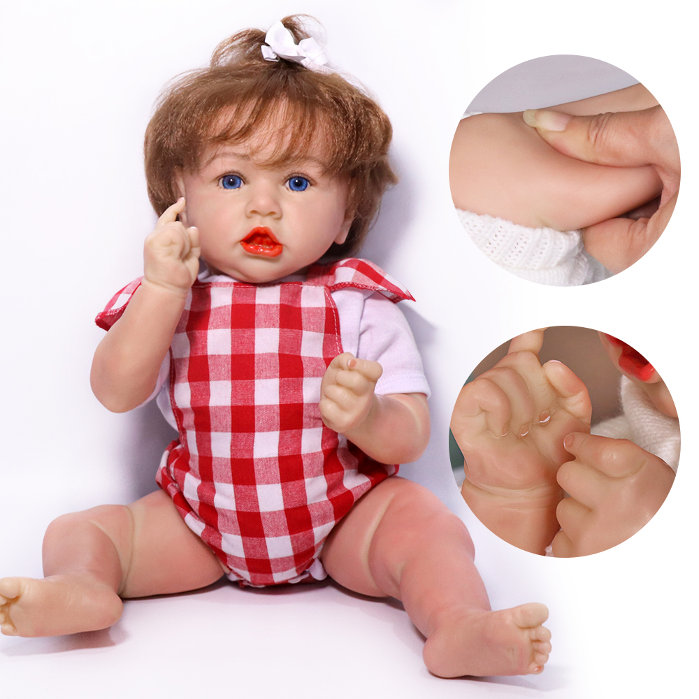 55CM Reborn Baby Doll 22'' Soft Cloth Body Silicone Baby Dolls Lifelike Realistic Newborn Bebe Toddler Toys For Children