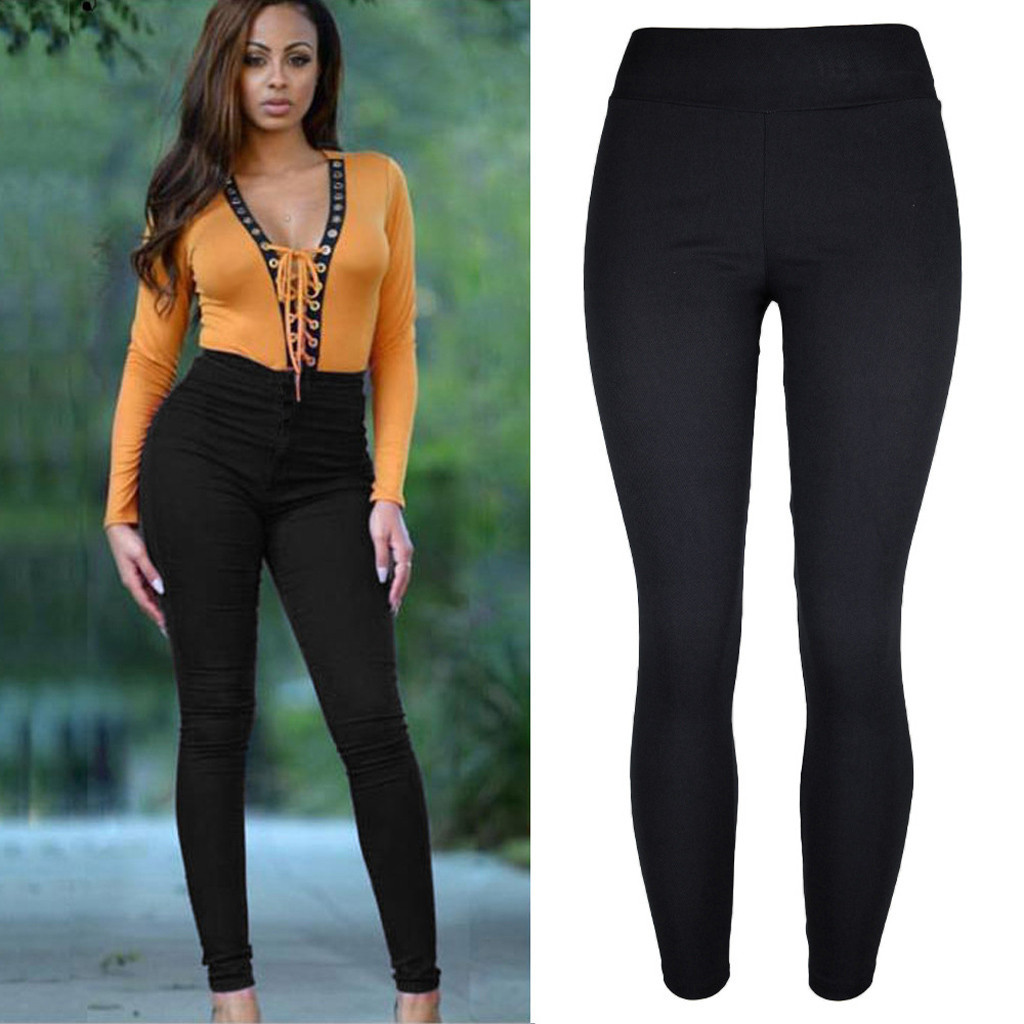 2019 Ladies Jeggings Fashion Light Women Solid Plus Size Thickening Solid Pencil Pants Trousers Pocket Jeggings Denim Skinny