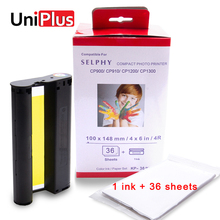 UniPlus 6 inch Color Ink Cartridge Compatible for Canon Selphy Photo Printer CP1200 CP1300 CP910 CP900 Paper Set KP 36IN