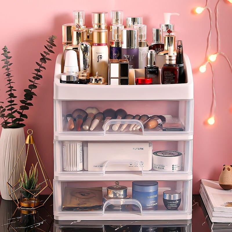 Desktop Cosmetic Storage Box Plastic Storage Rack Drawer Jewelry Box Dressing Table Rack Transparent Finishing Brush Storage