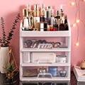 Desktop cosméticos caixa de armazenamento de plástico rack de armazenamento gaveta caixa de jóias penteadeira rack de acabamento transparente escova de armazenamento