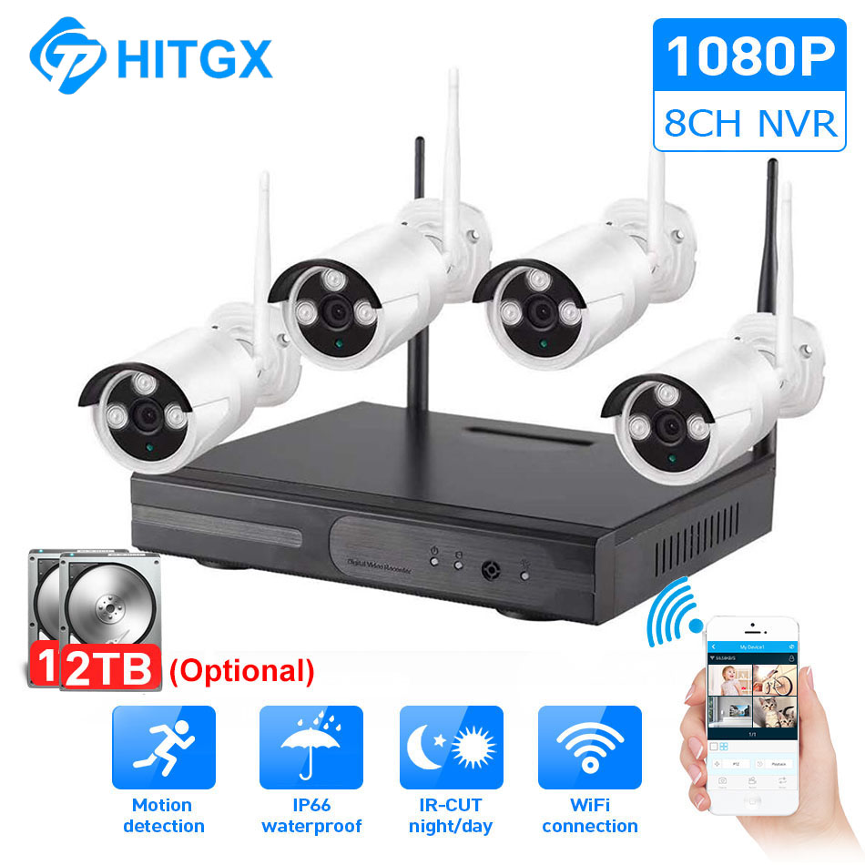 video surveillance camera system wireless CCTV kit 1080P ip NVR kit ip camera outdoor Security System Video Surveillance Kit in Surveillance System from Security Protection