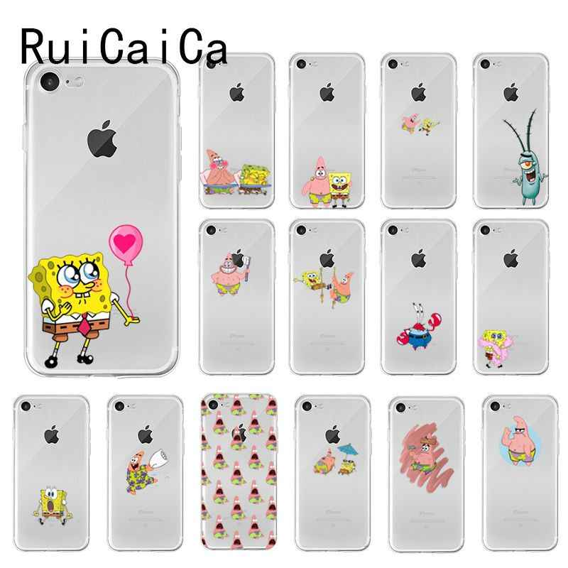 RuiCaiCa Spongebob Patrick Star TPU Soft Phone Case Cover voor iPhone 8 7 6 6S Plus X XS MAX 5 5S SE XR 10 Gevallen