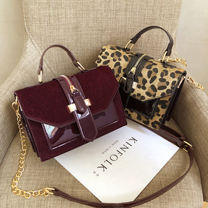 Image 5 - 2019 womens leopard PU leather shoulder bags lady solid black and burgundy crossbody chain handbags girl fashion sling bags