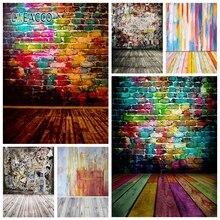 Laeacco Colorato Muro di Mattoni Pavimento In Legno Fondali Fotografia Graffiti Grunge Vintage Ritratto Sfondi Foto Photophone
