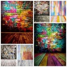 Laeacco fondos de fotografía con suelo de madera y pared de ladrillo colorido, Graffiti Grunge, retrato Vintage, foto de fondo, fotófono