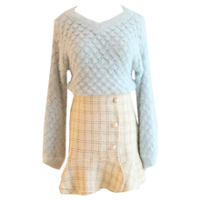 2019 Fall New Suit Loose V-Neck Sweater Knitted Top Pattern & Grid Fishtail Short Skirt Women 2 Pcs Clothing Set Knitwear