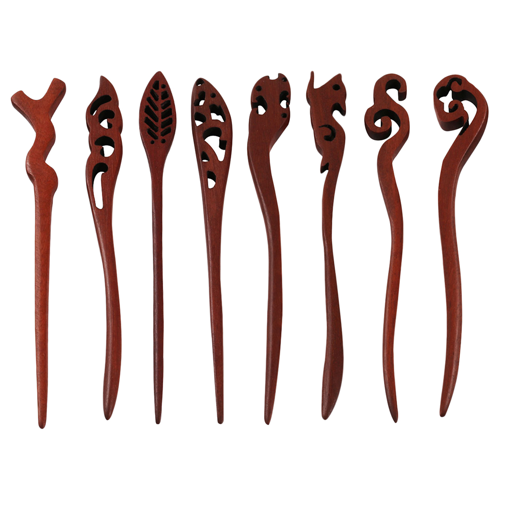 Women Ladies Vintage Wooden Hair Stick Hair Pin Red Sandalwood Wood Pin Hair Accessory Findings