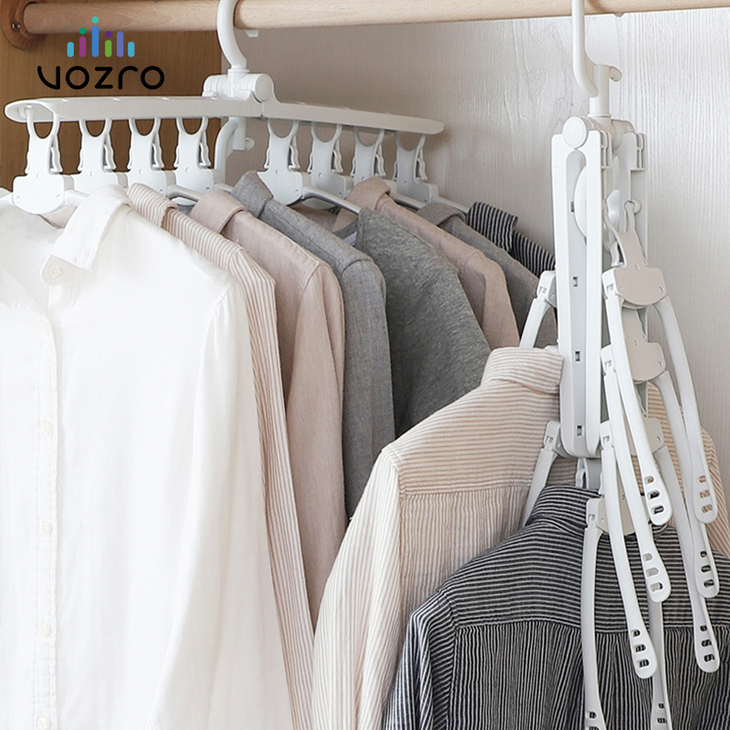 [8 Fish Bones]VOZRO Foldable Clothes Cloth Hanger Dryer Drying Clothing Rack Hangers For Tumble Hanging Laundry Stand Telescopic|Drying Racks| |  - title=