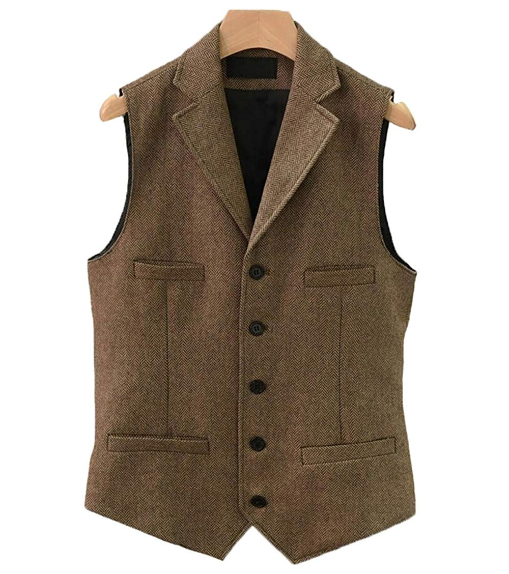 Solovedress Mens Suit Vest Slim Fit Notch Lapel Single Breasted Business Vintage Tweed Herringbone Waistcoat For Groom Wedding