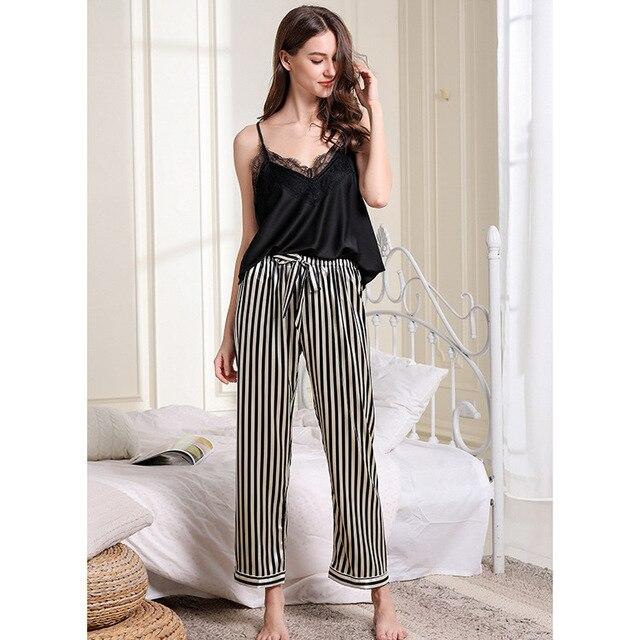 Pijama con borde de encaje para mujer, Sexy, con escote en V profundo, conjunto de pantalón largo con tirantes finos