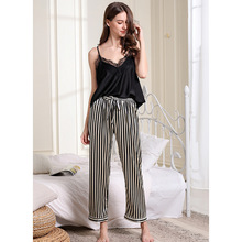 Summer Sexy Deep V Lead Lace Edge Women Pajamas Spaghetti Strap Long Pant Pajama Set