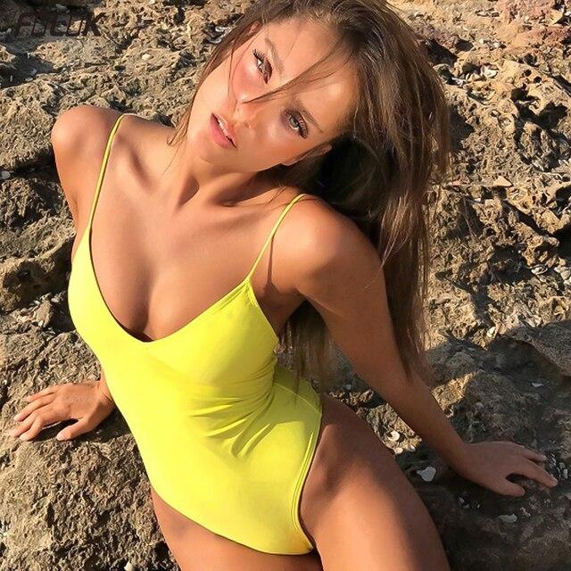 2020 nowych kobiet stałe stroje kąpielowe seksowna z wiązaniami jednoczęściowy strój kąpielowy Backless strój kąpielowy body kostiumy kąpielowe pływać Monokini Plus rozmiar