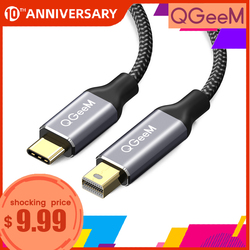 QGeeM rodzaj usb C 3.1 na Mini kabel displayport DP 4K 60HZ konwerter hdtv adapter do macbooka HuaWei Mate 10 samsung S8 na
