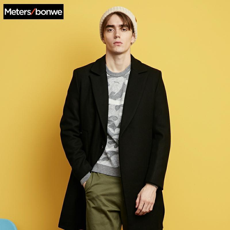 Metersbonwe Winter Woolen Jacket Men's High-quality Wool Coat Casual Business wool coat Men's Trench Coat