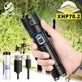 Супер яркий XHP70.2 светодиодный фонарик с дисплеем батареи Водонепроницаемый Военный светодиодный фонарь телескопический зум используется ...