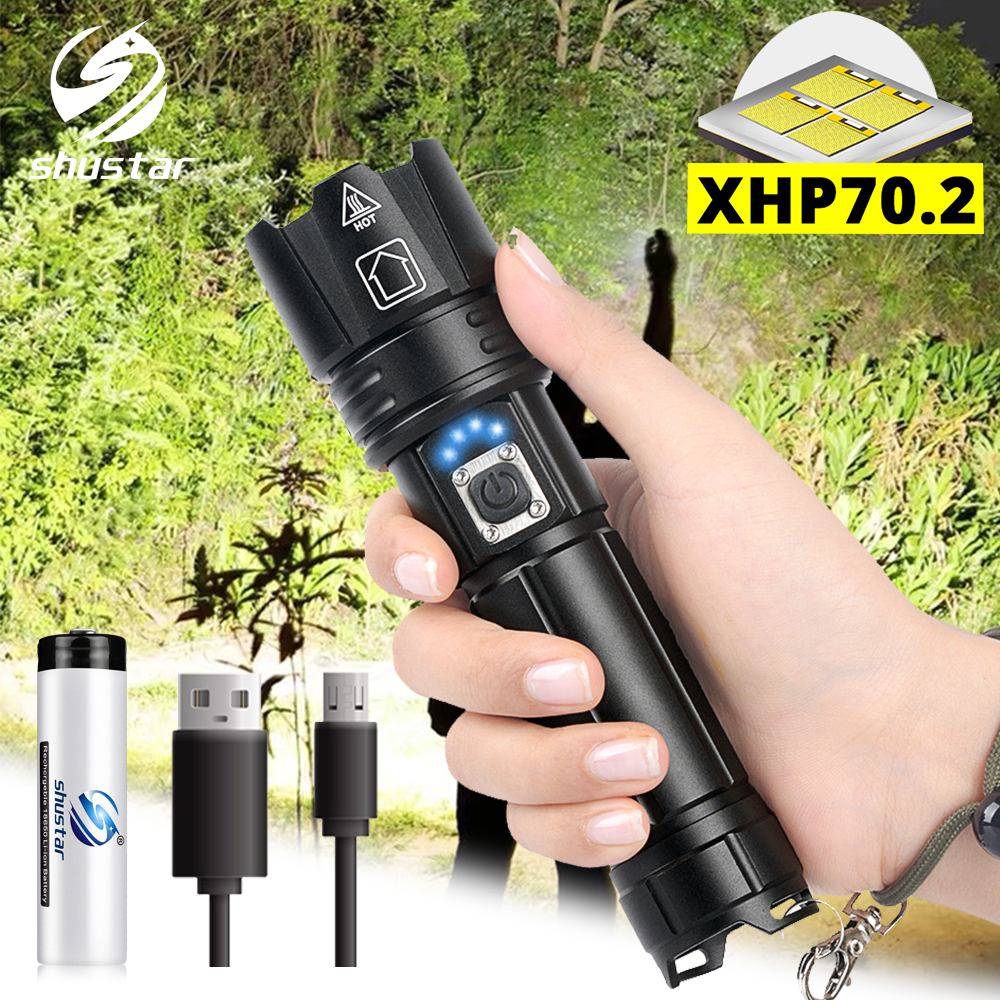 Super Bright XHP70.2 LED Flashlight With Battery Display Waterproof Tactical LED Torch Telescopic Zoom Used For Adventure, Hunt