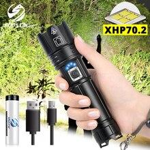 Super jasne XHP70.2 latarka LED z wyświetlaczem baterii wodoodporna taktyczna latarka LED zoom teleskopowy używane do przygody, polowanie