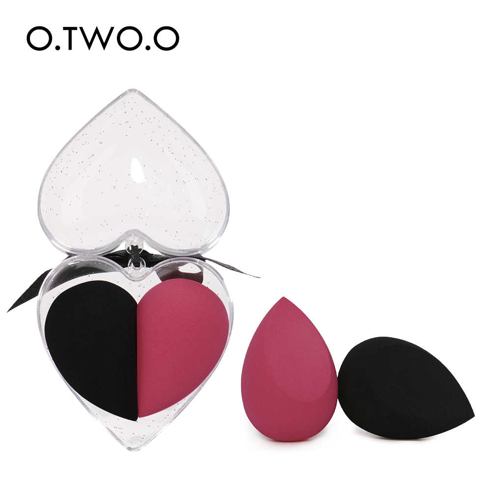 O.TWO.O 2pcs/set Makeup Sponge Heart-Shape Box Non-Latex Material Cosmetic Puff Powder Foundation Use Beauty Make Up Tools
