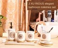 Drop shipping Ceramic Bathroom Tray Six Piece Bathroom Cup Wash Set Bathroom White Glaze