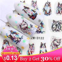LCJ 2019 New Arrivial Nail Stickers Tiger/Cat Series Water Decal Flower Plant Pattern 3D Manicure Sticker Nail Water Sticker