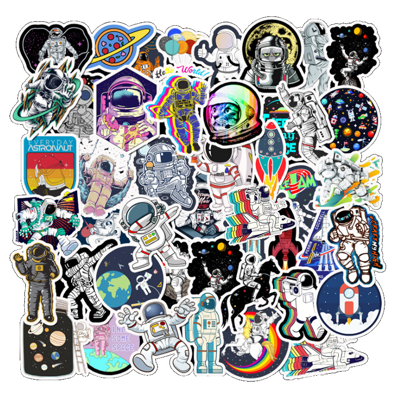 50Pcs Outer Space Astronaut Stickers For Suitcase Skateboard Laptop Luggage Fridge Phone Car Styling DIY Decal Toys Sticker