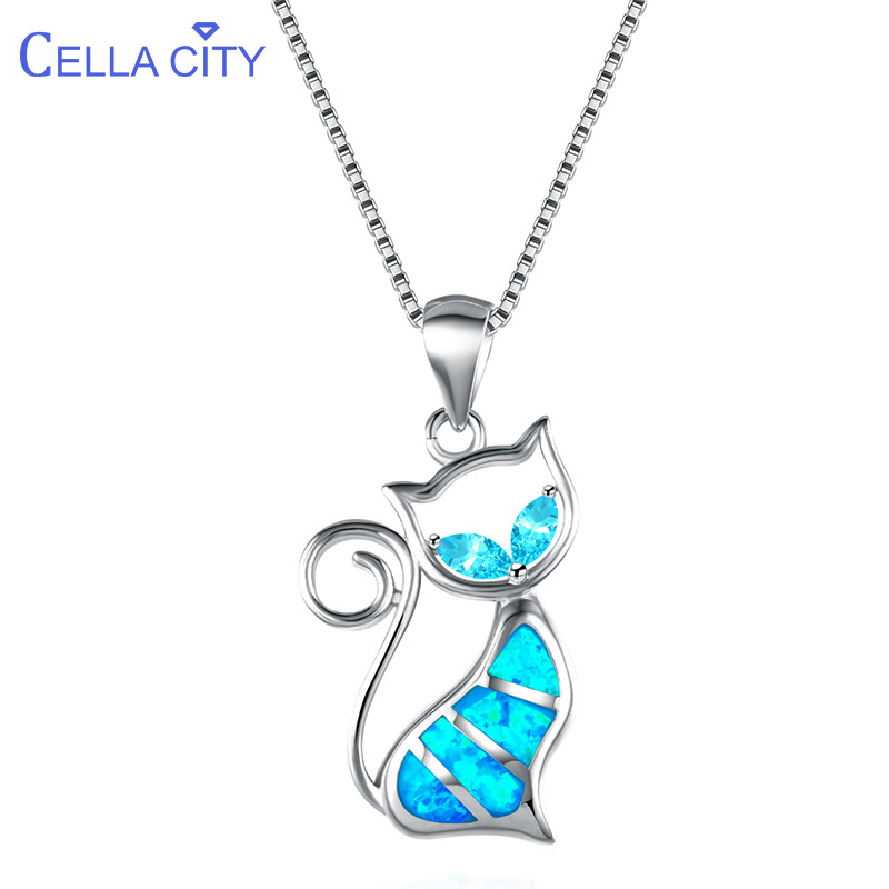 Cellacity 925 Sterling Silver Necklace For Women With  Cute Animal Shape Blue Opal Gemstones  Pendant Necklace Female Party Gift