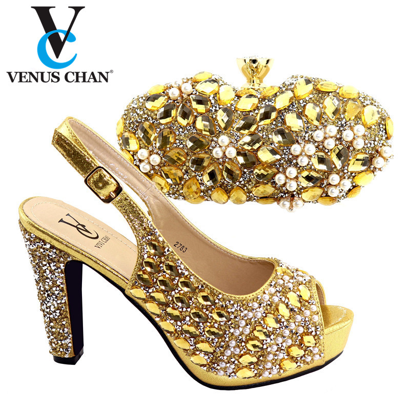 2020 New Gold Crytal Pointed Toe Slipper And Bag Set For Party Fashion Aftican Ladies High Heels Shoes And Matching Bag Set