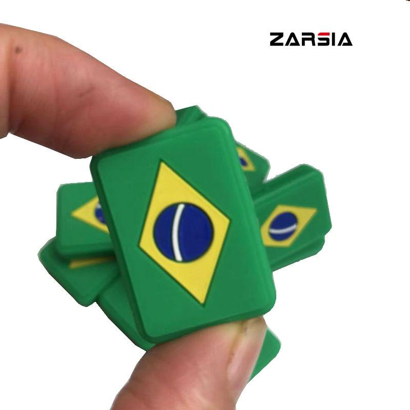 10cs Brazilian Flag Tennis Racket Vibration Dampeners Silicone Anti-vibration Tennis Racquet Shock Absorber