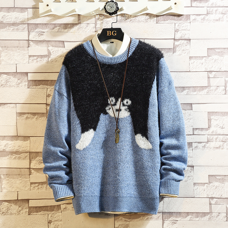 UYUK2019 Autumn Winter New Japanese Fastening Large Popular Logo Pendant Animal Embroidery Casual Stitching Sweater Man Hombre