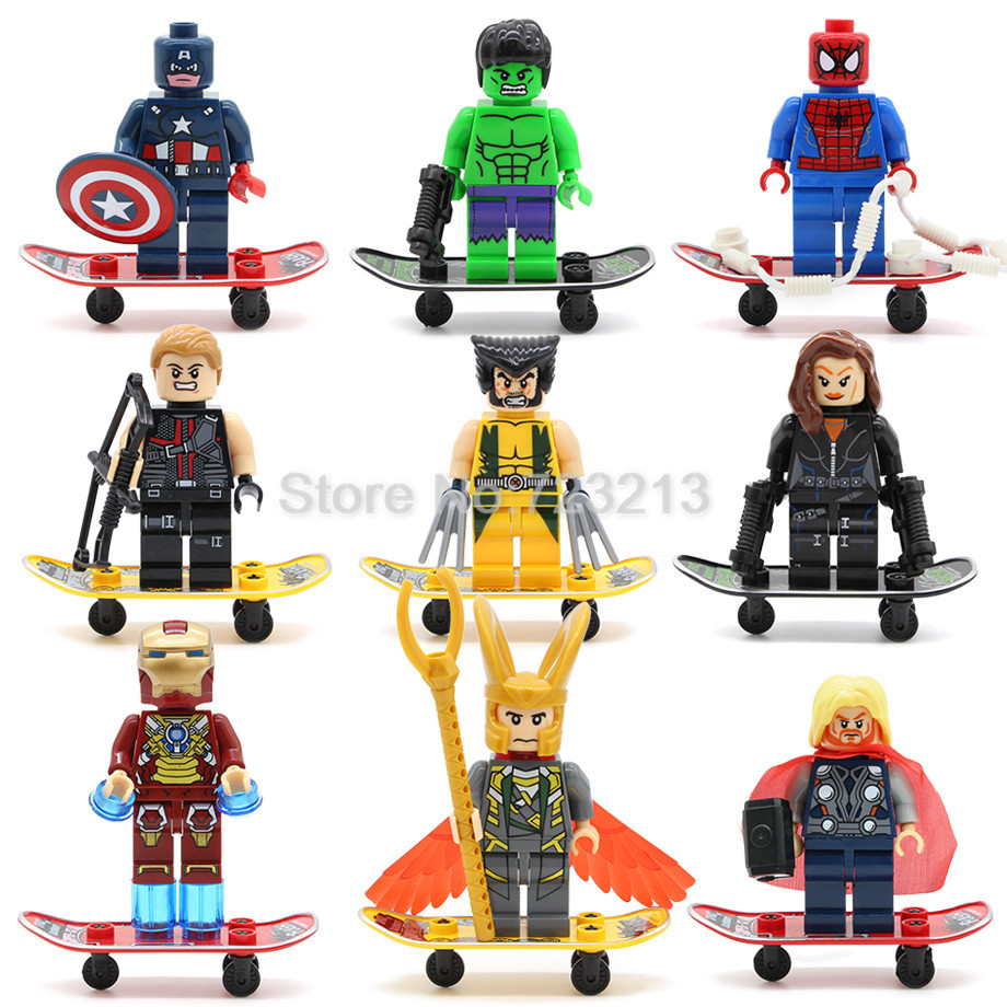 Single Super Hero 8cm 3.5inch Avengers Skateboard Figure Hulk Spider Iron Man Captain America Building Blocks Model Toy Legoing