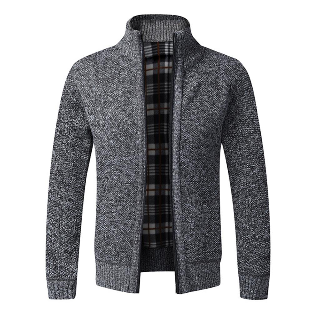 Stylish Men Winter Long Sleeve Stand Collar Thick Knitted Warm Zipper Sweater Coat Top
