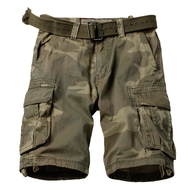 AKARMY Camouflage Shorts Men's Desert Camouflage Pants Cotton Multi-pockets Bib Overall Military Uniforms Outdoor