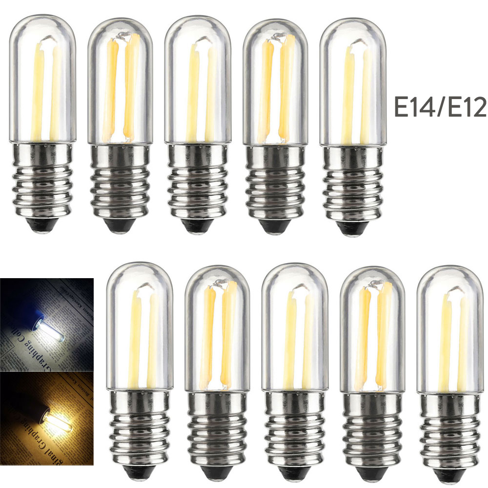 10pcs/Lots Dimmable Mini E14 E12 LED Fridge Freezer Filament Light COB Bulbs 1W 2W 4W Warm/ Cold White Lamp 110V 220V