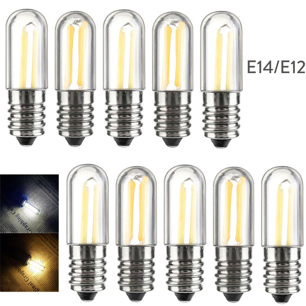 10pcs/Lots Dimmable Mini E14 E12 LED Fridge Freezer Filament Light COB Bulbs 1W 2W 4W Warm/ Cold White Lamp 110V 220V